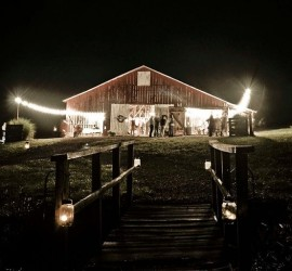 barn wedding venue at night